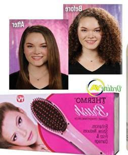 Thermal Hair Brush Ceramic Straightener Pink Petal Reduces F