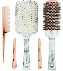 Lily England Marble And Rose Gold Comb And Clips 5 Piece Hai