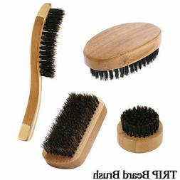Men Boar Hair Bristle Beard Mustache Brush Military Round Wo