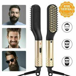 Men's Electric Beard Hair Straightener Brush Comb Tools Hair