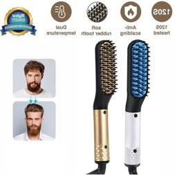 Men's Electric Quick Heated Beard Straightener Brush Hair Co