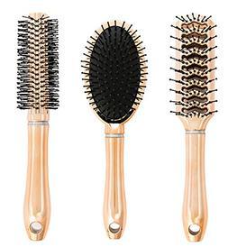 Studio Dry Metallic Hair Brush Gift Set, 3-Piece, Rose Gold,