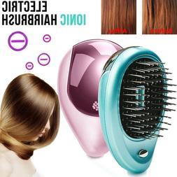 Mini Electric Brush Portable Ionic Hair Brush Anti Tangle Ha
