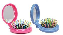 LOUISE MAELYS 2pcs Mix Color Round Folding Pocket Hair Brush