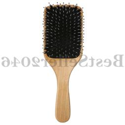 Natural Boar Bristle Hair Brush Wooden Paddle Detangling Cus
