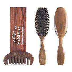 Natural Green Sandalwood Paddle Hairbrush for Men Women and