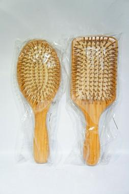 Natural Wood Hair Brush Anti Frizz Wooden Bristles Large Pad