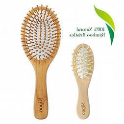 Nipoo Natural Wooden Paddle Hair Brush + Free Mini Travel Br
