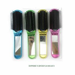 New Folding Hair Brush With Mirror Compact Pocket Size Trave