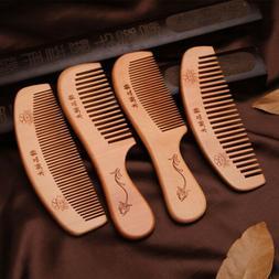 NEW Handmade Peach wood Anti-Static Pocket Comb Beard And Mu