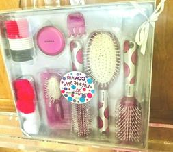 New Pink Conair 30 Piece Styling Collection Brushes Clips El