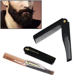 Pocket Clip Beard Comb Folding Hair Mustaches Brush Fine Coa