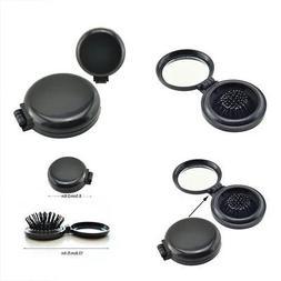 Zinnor Portable Mini Folding Hair Brush with Mirror Compact