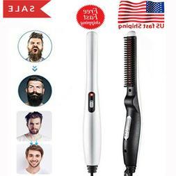 Pro Electric Straight Hair Beard Comb Straightener Quick Hea