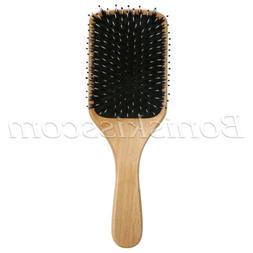 Pro Natural Boar Bristle Comb Wooden Detangling Cushion Hair