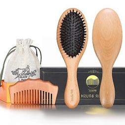 BFWood Pure Boar Bristle Hair Brush and Comb for Fine Thin H