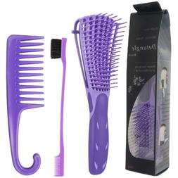 Purple Detangling Brush Great for Curly African & All Hair T