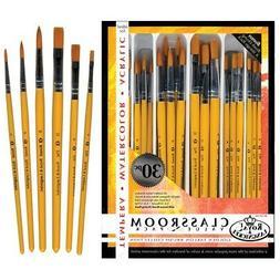Royal Brush Taklon Hair Classroom Value Pack, Assorted Size,