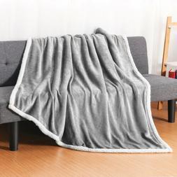 "50""X60"" Comfort Flannel Sherpa Throw Blanket Reversible Soft"