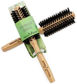 Bamboo Round Brush, 100% Natural Hair Brush with Boar Bristl