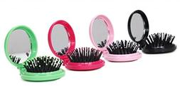 LOUISE MAELYS 4pcs Round Folding Pocket Hair Brush Mini Hair