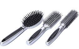HOYOFO 3 Pieces/Set Hair Brushes Styling Detangle Vent Round