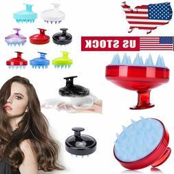 Soft Silicone Handheld Oval Shampoo Scalp Head Hair Massage