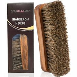 "TAKAVU 6.7"" Horsehair Shoe Shine Brush with Horse Hair Brist"