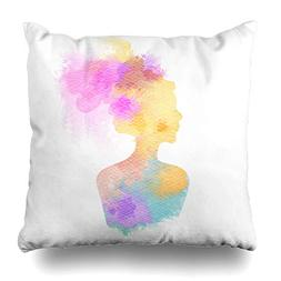 NOWCustom Throw Pillow Cover Salon Watercolor Color Double E
