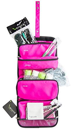 Travel Toiletry Bag Filled with Hairbrush, 2 Toothbrushes, E