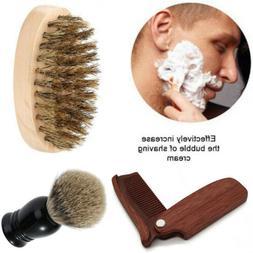 US Men Boar Bristle Beard Mustache Styling Brush Facial Hair