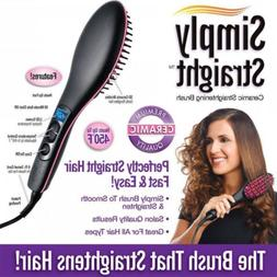 US Simply Straight Ceramic Brush Hair Straightener Electric