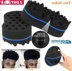 Wave Barber Hair Brush Sponge Double-Side Twist Curls Coil D