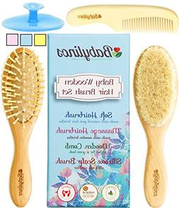 4 Piece Baby Hair Brush Set, Baby Boy Gifts with Natural Hai