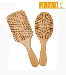 Wooden Bamboo Hair Brush Reduce Frizzy and Massage Scalp Cle