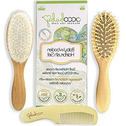 OCCObaby Wooden Hair Brush and Comb Set for Newborns & Toddl