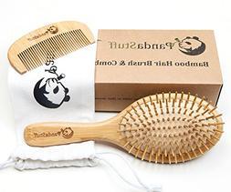 Wooden Hair Brush – Organic Bamboo Hair Brush And Comb Set