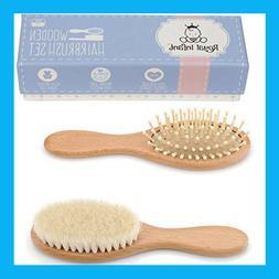 Wooden Baby Hair Brush Set with Natural Goat Hair Bristles ~