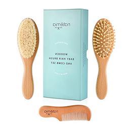 Quality Wooden Baby Hair Brush Set - Premium Brushes and Com