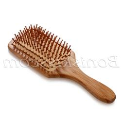 Wooden Natural Bamboo Anti-static Paddle Hair Brush Massager